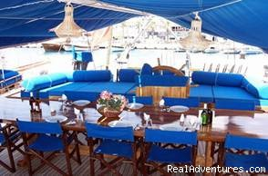 Food Table in back deck - Economical Gulet Charter in Turkish Coasts