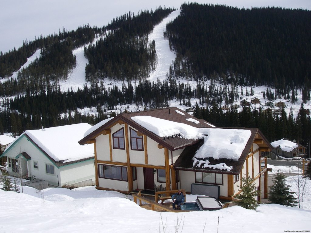 Back of house, main entrance for 3 bedroom/loft unit. | Image #2/23 | Sun Peaks Resort Private Post &Beam Chalet