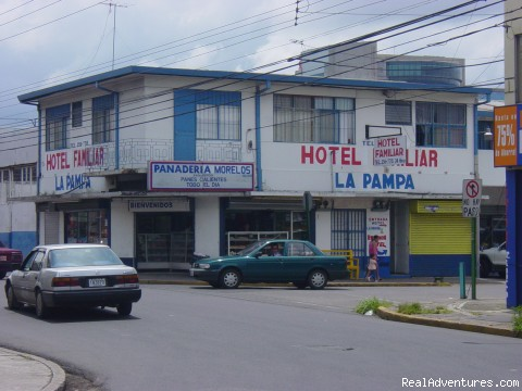 Front view - La Pampa Hostel budget hotel san jose costa rica