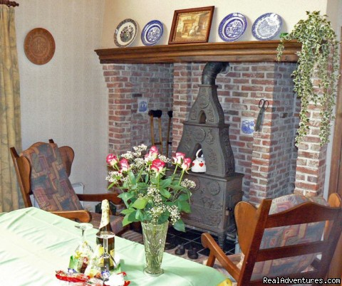Sittingroom with fireplace - Cottage in Nature reserve between Bruges & Ghent