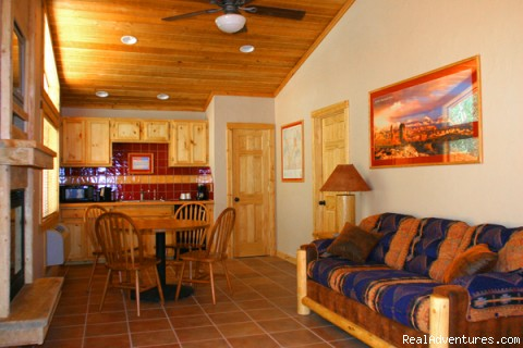 Queen River Cabin Living Room - River Front Cabins
