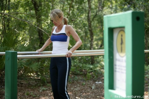 Fitness trail with work out stations