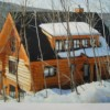 Log Cabin high in a maple wood ski ing the mountain