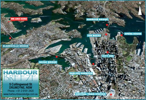Location within Sydney Harbour - Budget Accommodation minutes from Sydney CBD, AUST