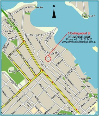 Map - 5 Collingwood Street, Drummoyne - Budget Accommodation minutes from Sydney CBD, AUST