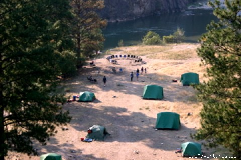 Aerial View of Campsite - Oregon and Idaho River Rafting - ECHO River Trips