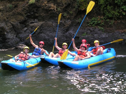Teens in Inflatable Kayaks on the Rogue - Oregon and Idaho River Rafting - ECHO River Trips