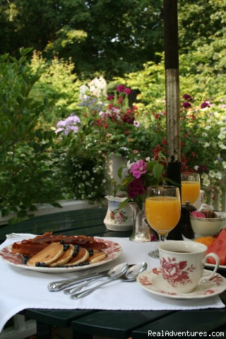 Pentagoet Inn Romantic Weekend Getaway Breakfast on the porch