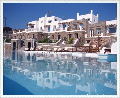 Front view - Mykonos Star deluxe apartments on the beach