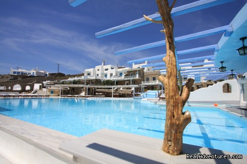 pool area - Mykonos Star deluxe apartments on the beach