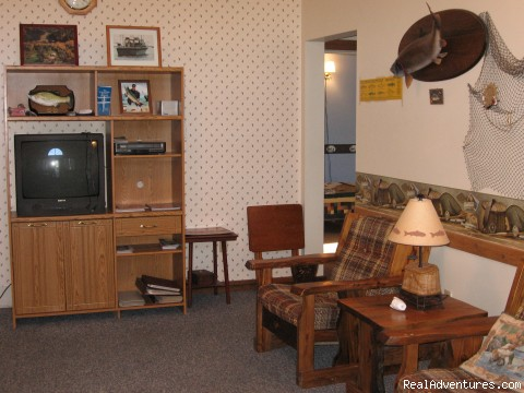 Living Room of Lodge - Charter fishing & Lodging at resonable prices