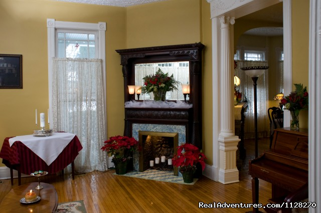 Historic Mantel in Music Parlor - A Jewel of Comfort & Hospitality - Magnolia House