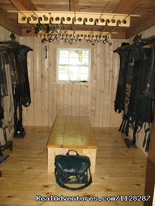 Mud room with all the fishing gear supplied to guests - Deshka Wilderness Lodge