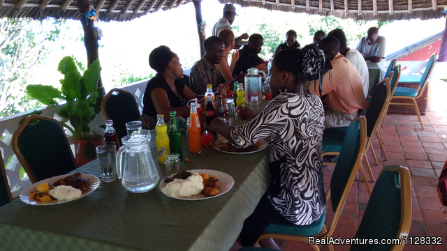 Lunch at our roof top - Eco adventure at Watamu Kenya