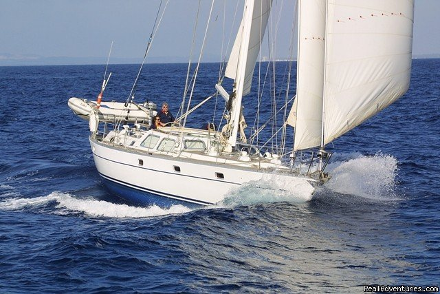 Velvet Adventure Sailing offers sailing holidays in a comfortable friendly atmosphere. aboard our Oyster 55.  With a maximum of six guests at any one time we specialise in trips for small groups and individuals