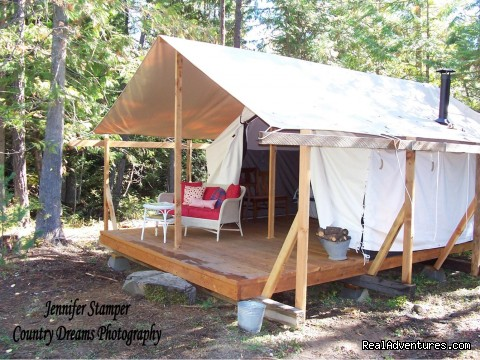 North Idaho Camping Bed and Breakfast - Huckleberry Tent and Breakfast - Sandpoint Idaho