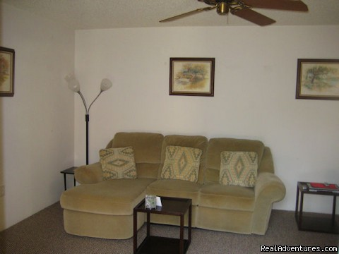 large living room with a TV and VCR - 3 bedroom Townhouse , private courtyard, pool