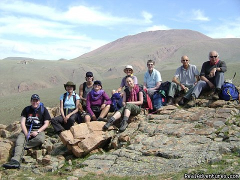 Trekking group pause for a photo - Hiking and Trekking Holiday Vacations in Mongolia