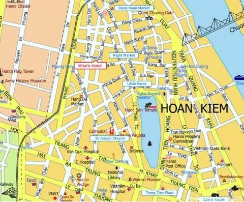 Hanoi Mike's hotel map - Hanoi  Mikes Hotel