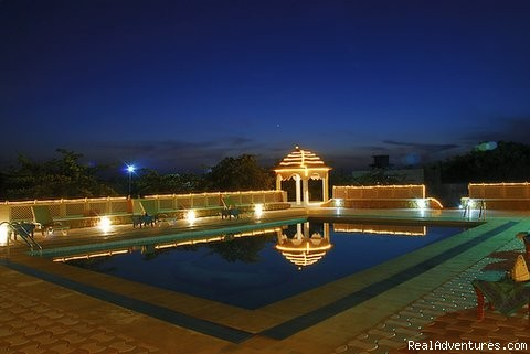 Pool in the night - Mirvana Nature Resort near Jaisalmer