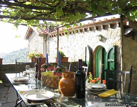 A meal under the vine-covered patio | Image #2/2 | Villa for rent by Cinque Terre