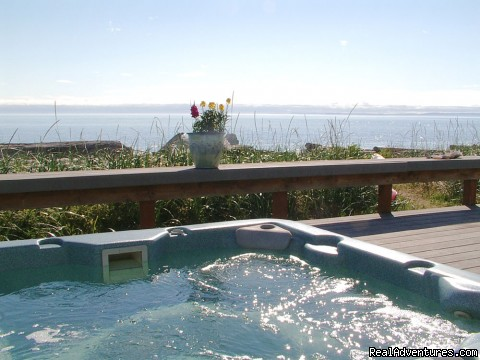 Hot tub and large deck over looking Dungeness Bay - 3 Crabs Beach House - Private Beach & Hot Tub