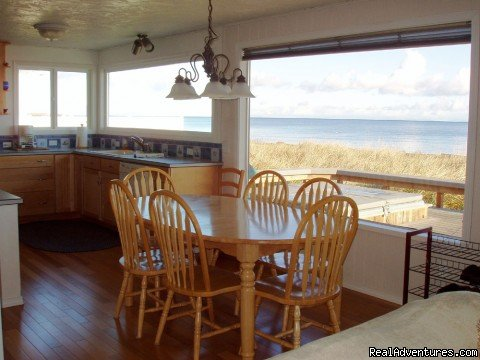 Dining and kitchen views overlooking Dungeness Bay