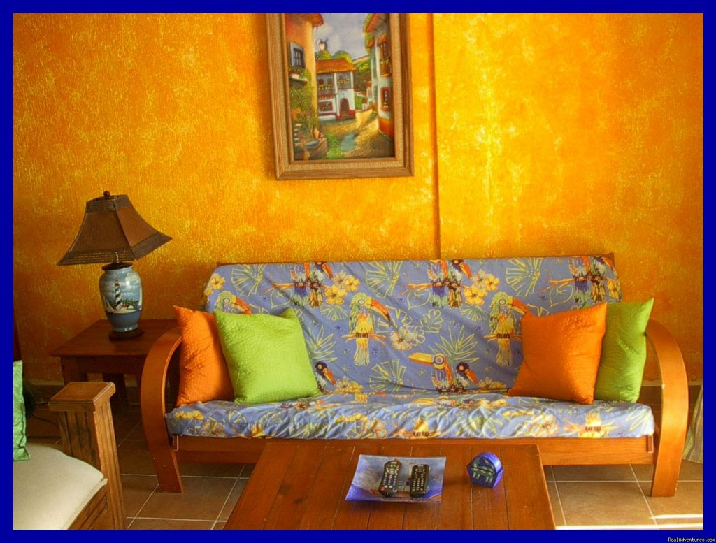 Futon couch for additional guests! | Image #5/9 | Playa del Carmen Condo Vacation Rental Casita Azul