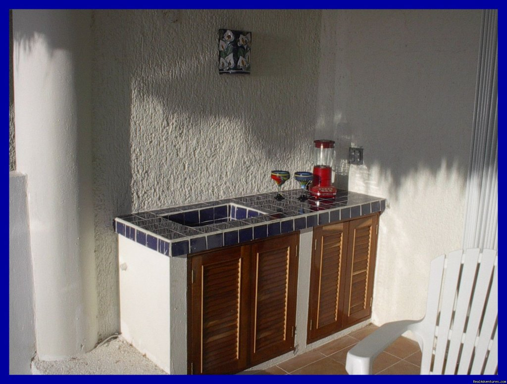 Balcony countertop with icing station! | Image #6/9 | Playa del Carmen Condo Vacation Rental Casita Azul
