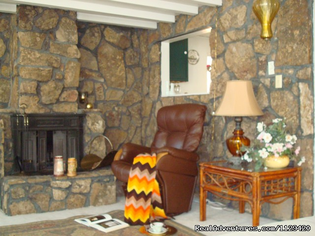 LIVING ROOM HAS A FIREPLACE - Pikes Peak Cabin  By Garden Of The Gods