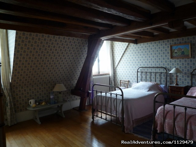 Twins' bedroom - 18th Century Huchepie manor organic B&B