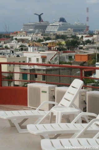 Relaxing, spacious roofdeck with views - Brand New! 1 Bdrm Gorgeous condo downtown Cozumel