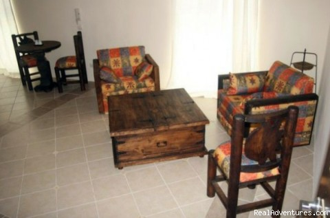 Living room with cable TV, AC - Brand New! 1 Bdrm Gorgeous condo downtown Cozumel