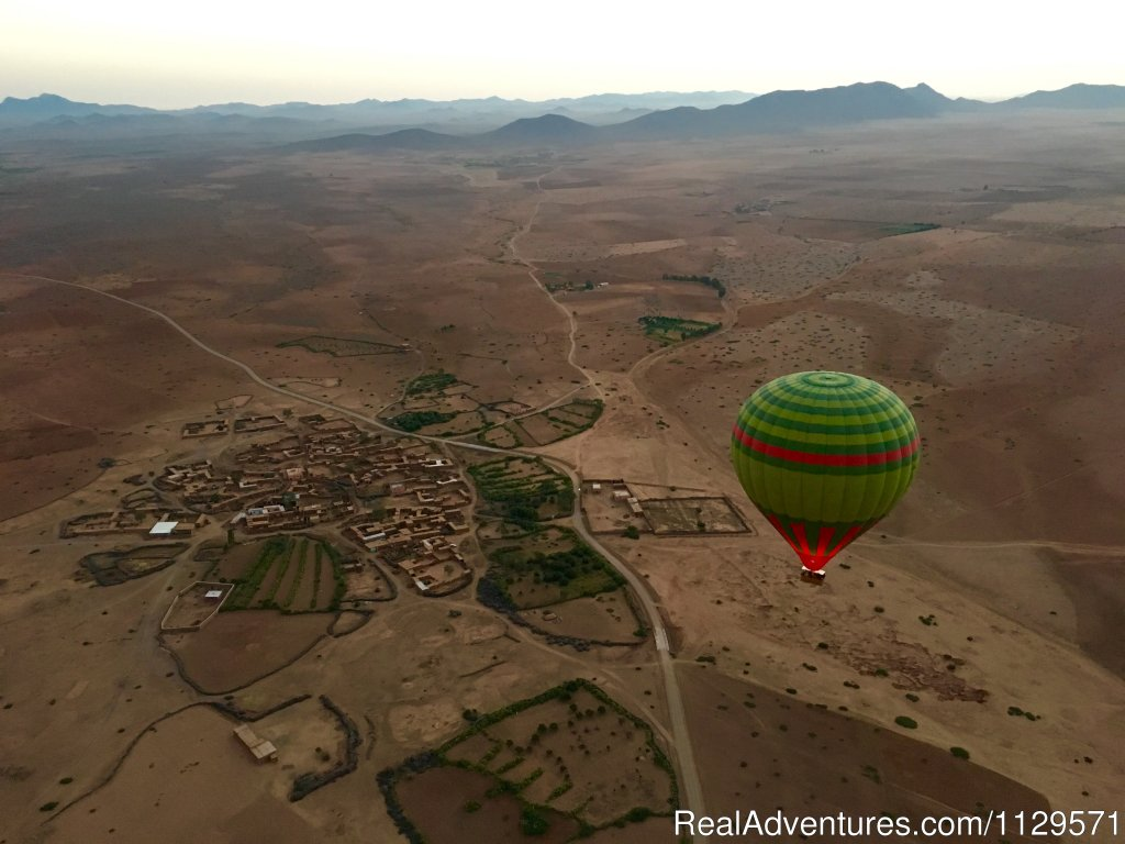 Take a relaxing flight up in the sky in a hot air balloon with Ciel d'Afrique, looking over the breath taking views of Marrakesh . Fly over the wide open tranquil deserts and the small local villages.