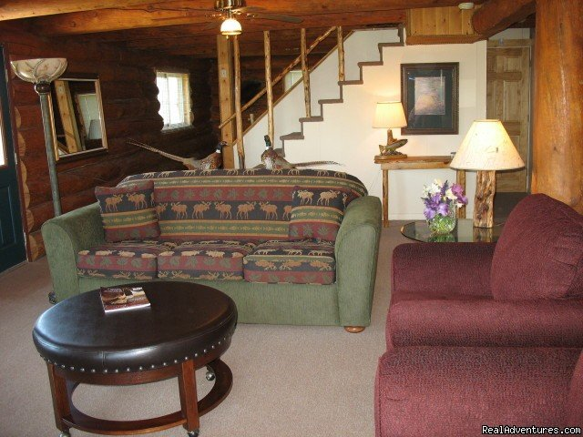 Living Room in Big Brown | Image #10/19 | Riverfront Cabins on a Private 1400 acre ranch