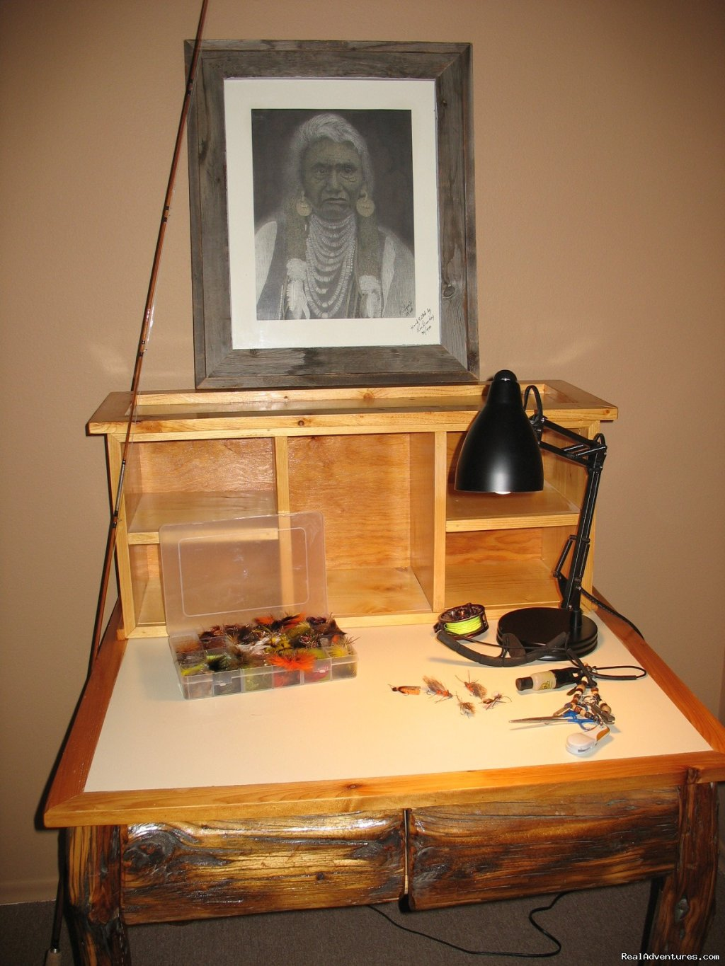 Fly Tying Table in Kamloops Living Room | Image #18/19 | Riverfront Cabins on a Private 1400 acre ranch