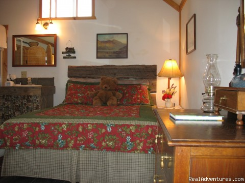 Interior of Vintage Log Cabin - Riverfront Cabins on a Private 1400 acre ranch