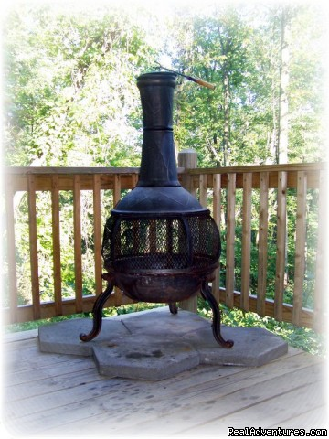 Chiminea On Deck | Image #17/23 | K & R Serenity Log Cabins