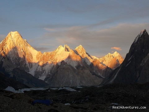 sunrise on Baltoro mountains - NORTH PAKISTAN ADVENTURE Trekking andTours