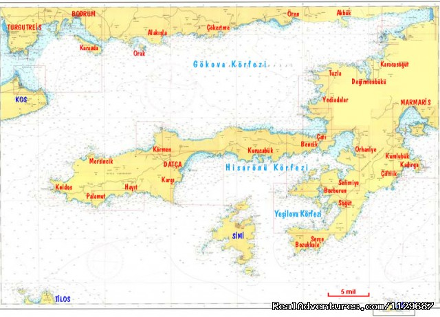 Marmaris to Bodrum sea Map (#17 of 17) - Cruises, Sailing & Yacht Charters in Turkey