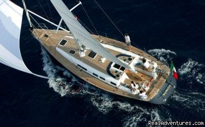 Private Yacht charters on our gorgeous sailingyacht Grand Soleil 50'. ORGANIC food served onboard, scuba diving, GOURMET