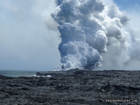 Nearby active volcano flowing into ocean