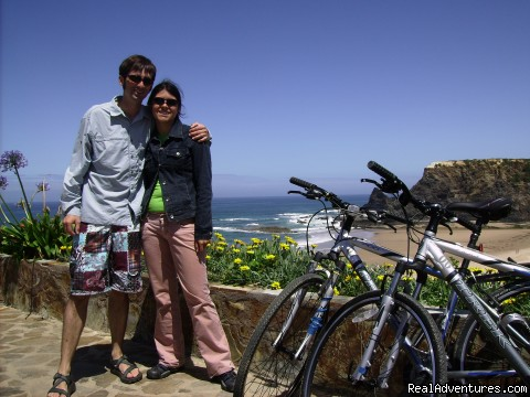 Guests on last day of a coastal tour, smile everyone! - Blue Coast Bikes Luxury Bike Tours in Portugal