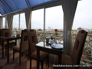 Top roof restaurant with views - Posh Hotel - Great  3 Hotel in Hanoi Old Quarter