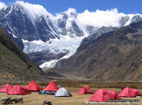Camping place in the Cordillera Blanca Huaraz - Sun Gate Tours