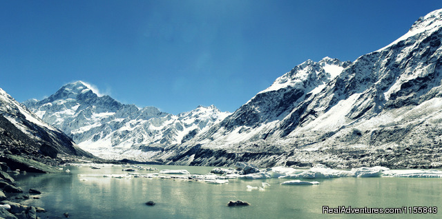 Hooker Glacier Lake in winter - Glentanner Park Centre Mount Cook New Zealand