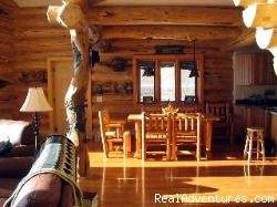 Dining area overlooking the Stillwater River - Romance & Adventure at the Montana Beartooth Cabin