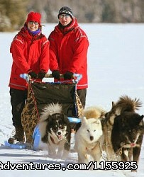 Couples enjoy Wintergreen's unique double-wide sleds - Dog Sledding Vacations & Dog Mushing Tours