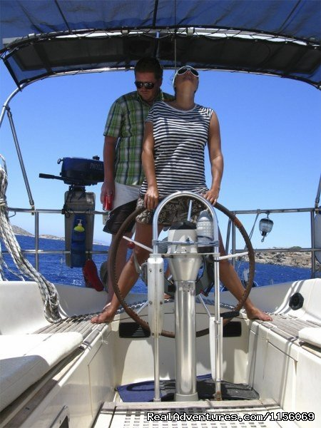 Chris and Ann at the helm 2010 | Image #19/22 | Sailing The Aegean Sea
