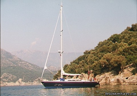 anchorage at the Gemiler Ruins, Turkey - Sailing Charters Private or Share. Greece & Turkey